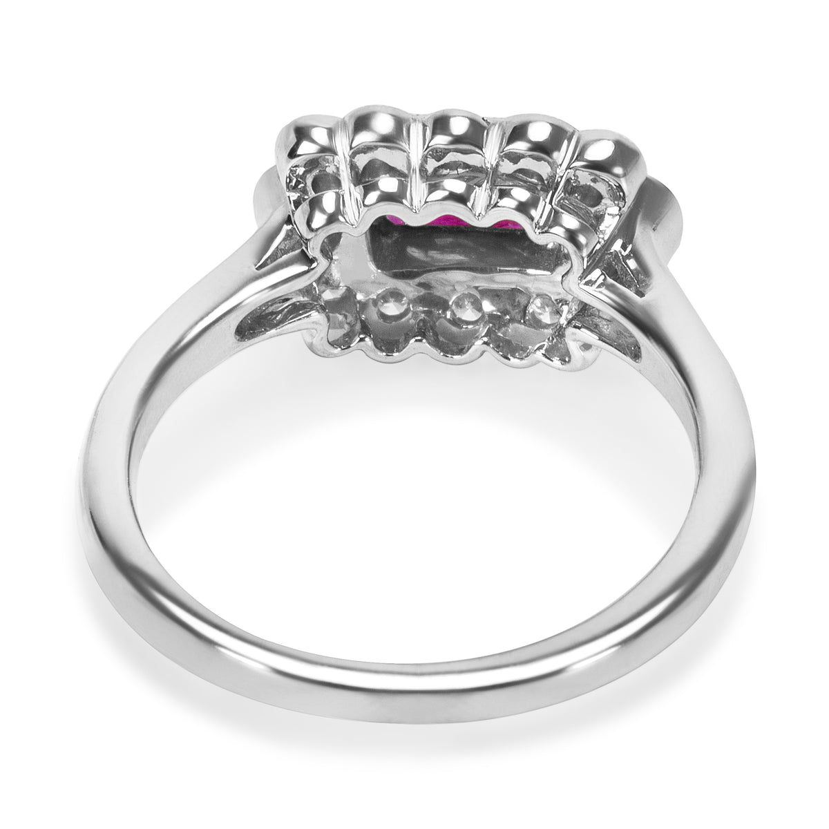 BRAND NEW Diamond and Ruby Vintage Ring in 18K White Gold (0.27 CTW)