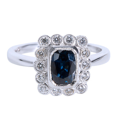 BRAND NEW Diamond & Sapphire Vintage Style Ring in 18K White Gold (0.24 CTW)