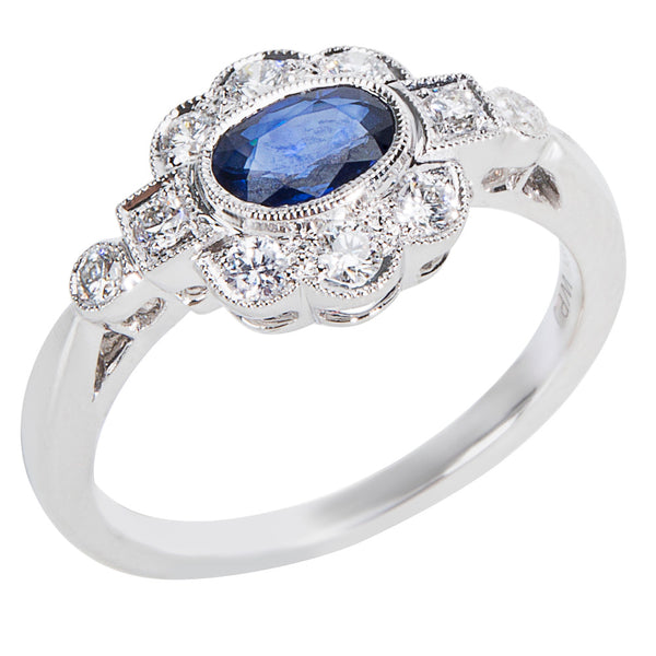 BRAND NEW Diamond & Sapphire Vintage Style Ring in 18K White Gold (0.32 CTW)