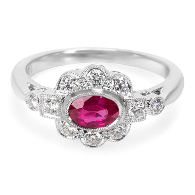BRAND NEW Fashion Ring in 18K White Gold with Ruby and Diamond (0.32 CTW)