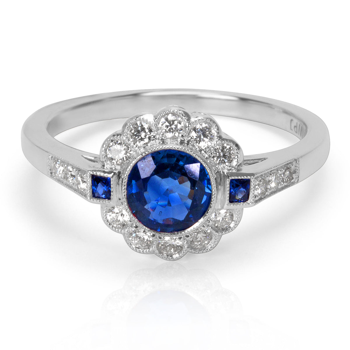 BRAND NEW Sapphire and Diamond Vintage Style Ring in 18K White Gold (0.25 CTW)