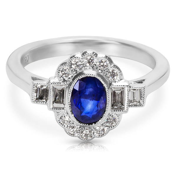 BRAND NEW Sapphire Center Vintage Ring in 18K WG with Diamonds (0.27 CTW)