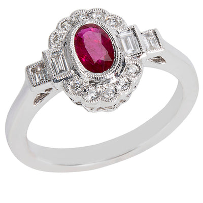 BRAND NEW Diamond & Ruby Vintage Style Ring in 18K White Gold (0.30 CTW)