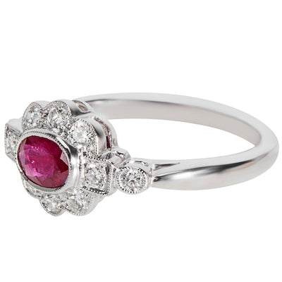 BRAND NEW Diamond & Ruby Vintage Style Ring in 18K White Gold (0.32 CTW)