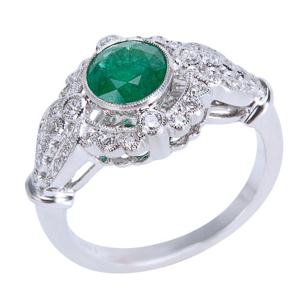 BRAND NEW Diamond & Emerald Vintage Style Ring 18K White Gold (0.80 CTW)