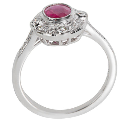 BRAND NEW Diamond & Ruby Vintage Style Ring 18K White Gold (0.20 CTW)