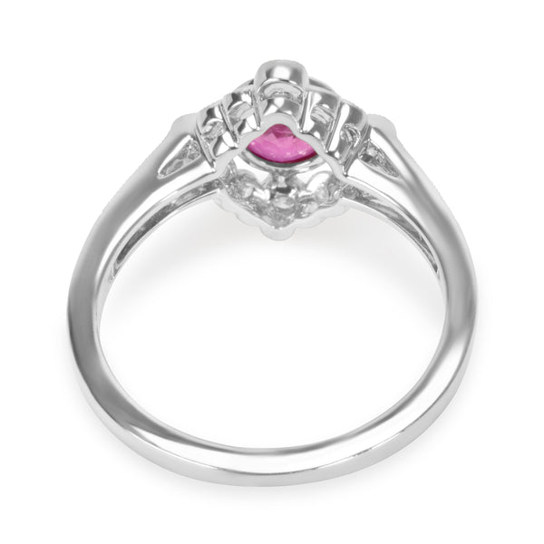BRAND NEW Diamond and Ruby Vintage Ring in 18K White Gold (0.24 CTW)