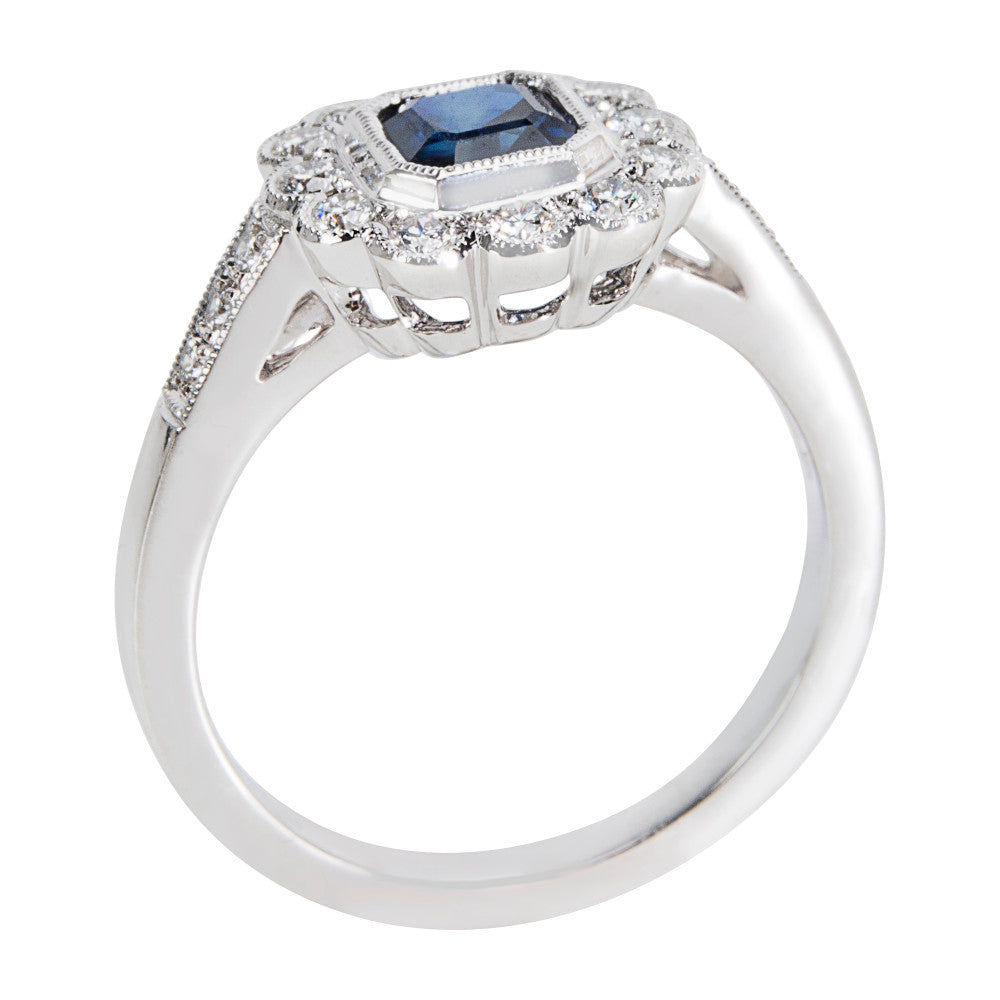 BRAND NEW Diamond & Sapphire Vintage Style Ring in 18K White Gold (0.28 CTW)