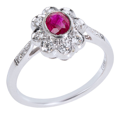 BRAND NEW Ruby Halo Ring in 18K White Gold with Diamonds (0.28 CTW)