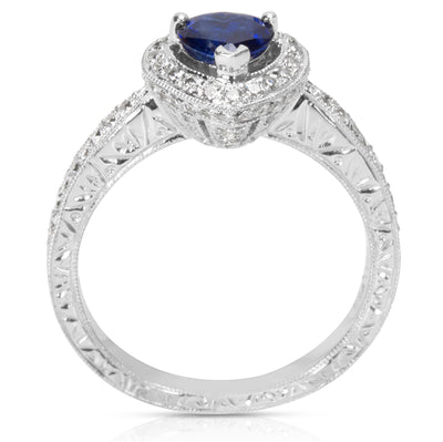 BRAND NEW Fashion Ring in 18K White Gold with Sapphire Center and Diamonds