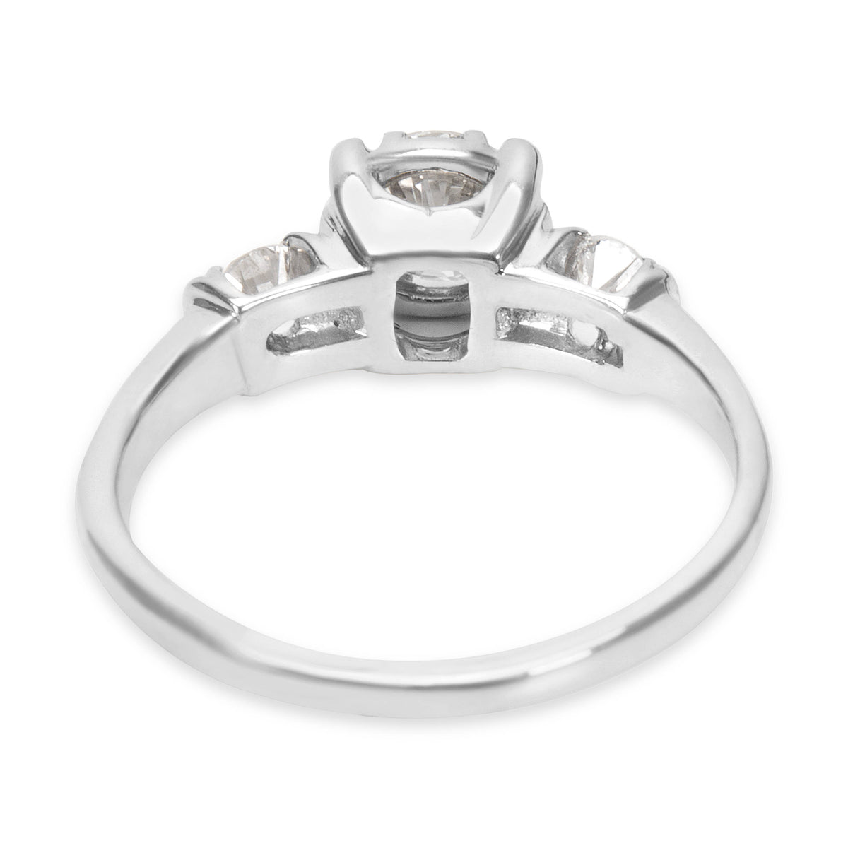 Three Stone Diamond Engagement Ring in 18K White Gold (0.65 CTW)