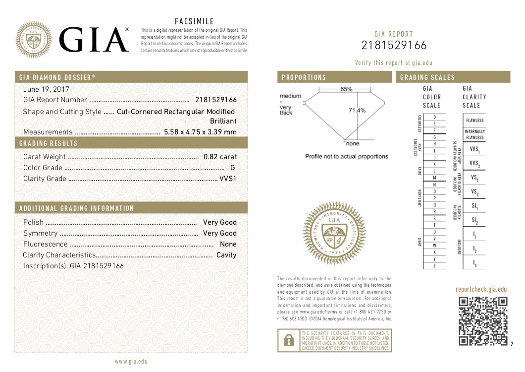 GIA Certified 0.82 Ct Radiant cut G VVS1 Loose Diamond