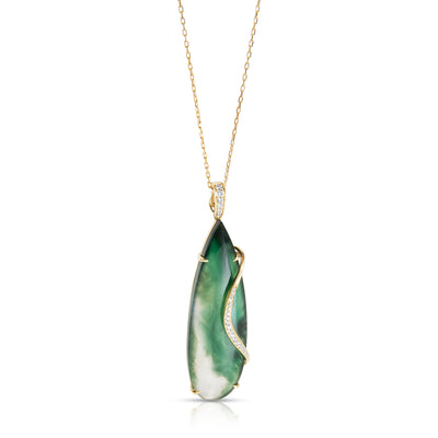 Frederic Sage Jade Pendant Necklace in 18k Yellow Gold (0.50 CTW)