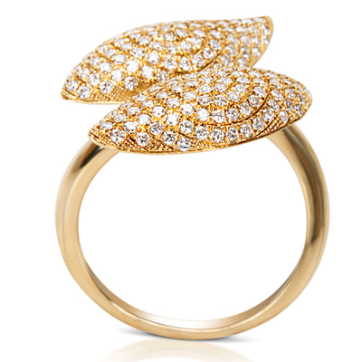 BRAND NEW Diamond Pave Leaves Fashion Ring in 18k Yellow Gold (1.05 CTW)