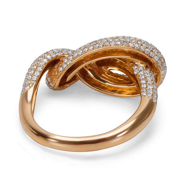 BRAND NEW Diamond Pave Knot Fashion Ring in 18k Rose Gold (1.30 CTW)