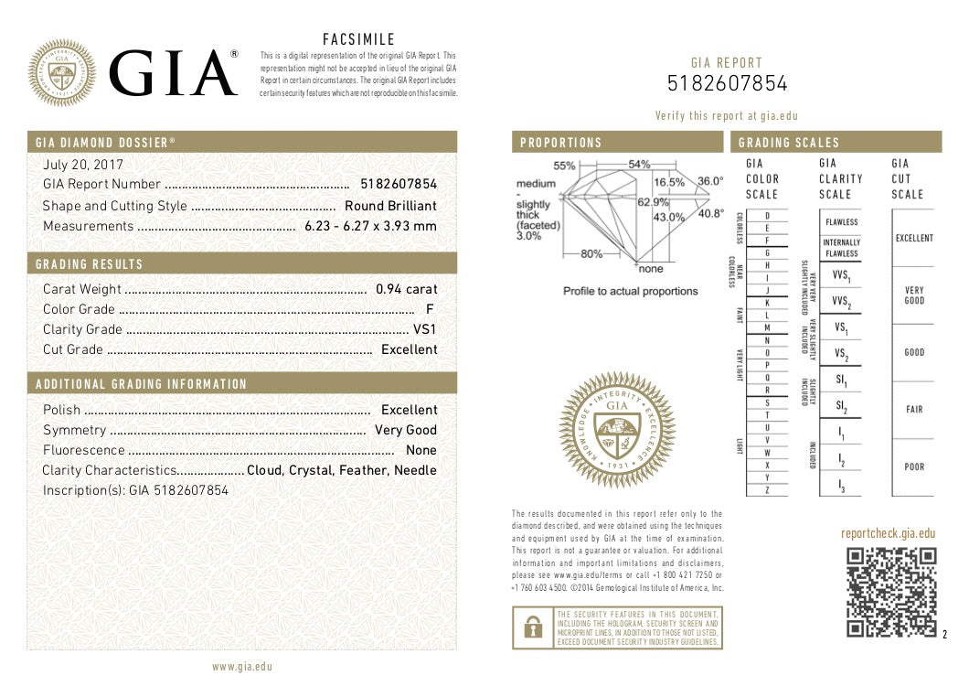 GIA Certified Round cut, F color, VS1 clarity, 0.94 Ct Loose Diamond