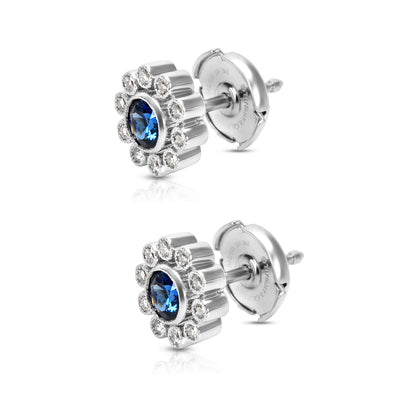 Tiffany & Co. Vintage Sapphire & Diamond Flower Earrings