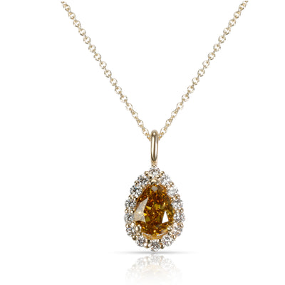 GIA  Fancy Deep Brown Yellow Pear Diamond Halo Necklace in 14KT Gold 1.32 CTW