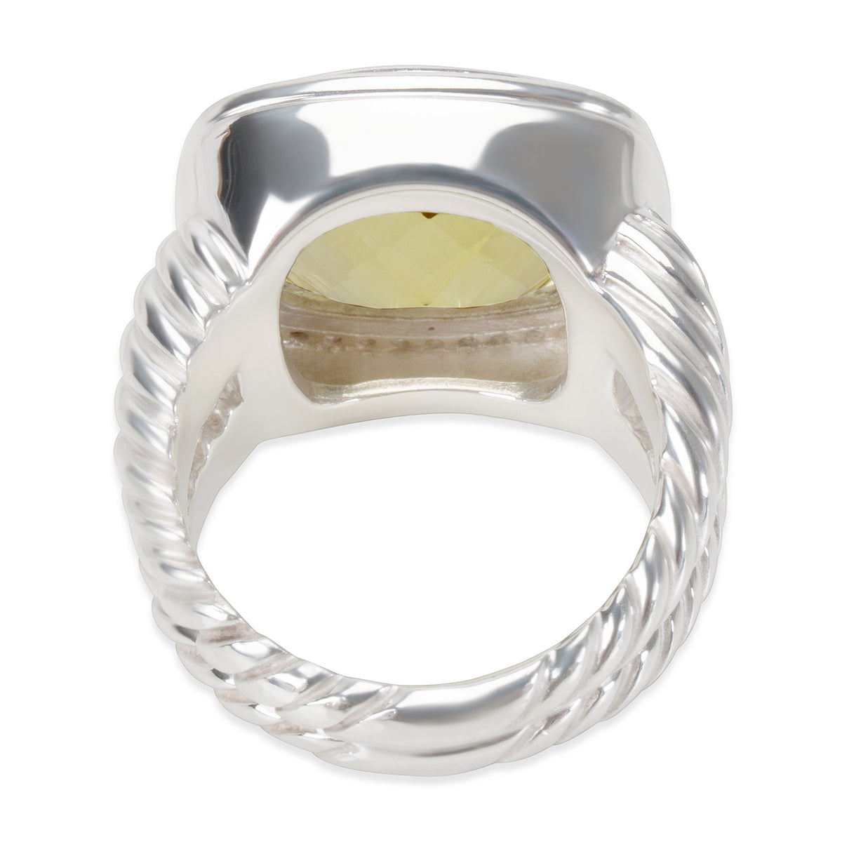 David Yurman Albion Ring with Prasiolite and Diamonds 14mm  0.45 ctw