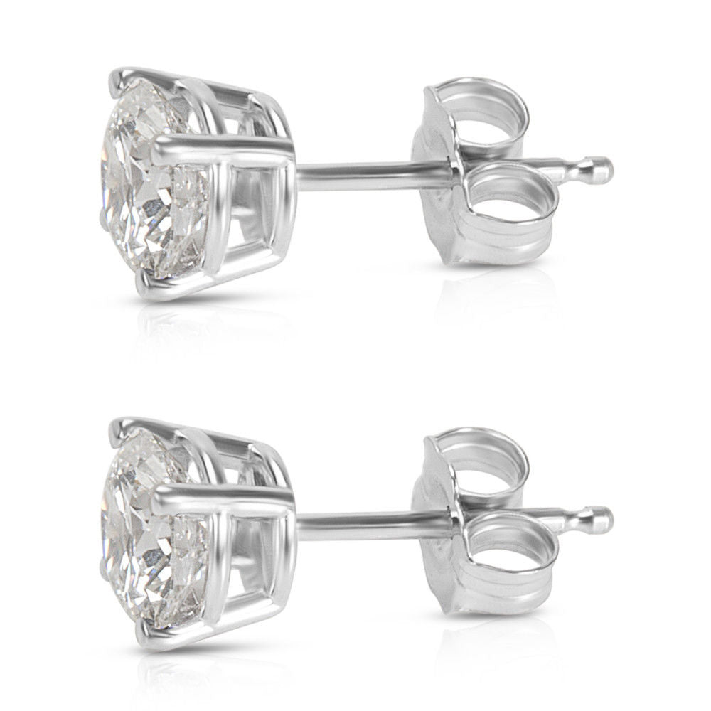 GIA Certified Diamond Stud Earrings in 14K White Gold (2.06 ctw G/I1)
