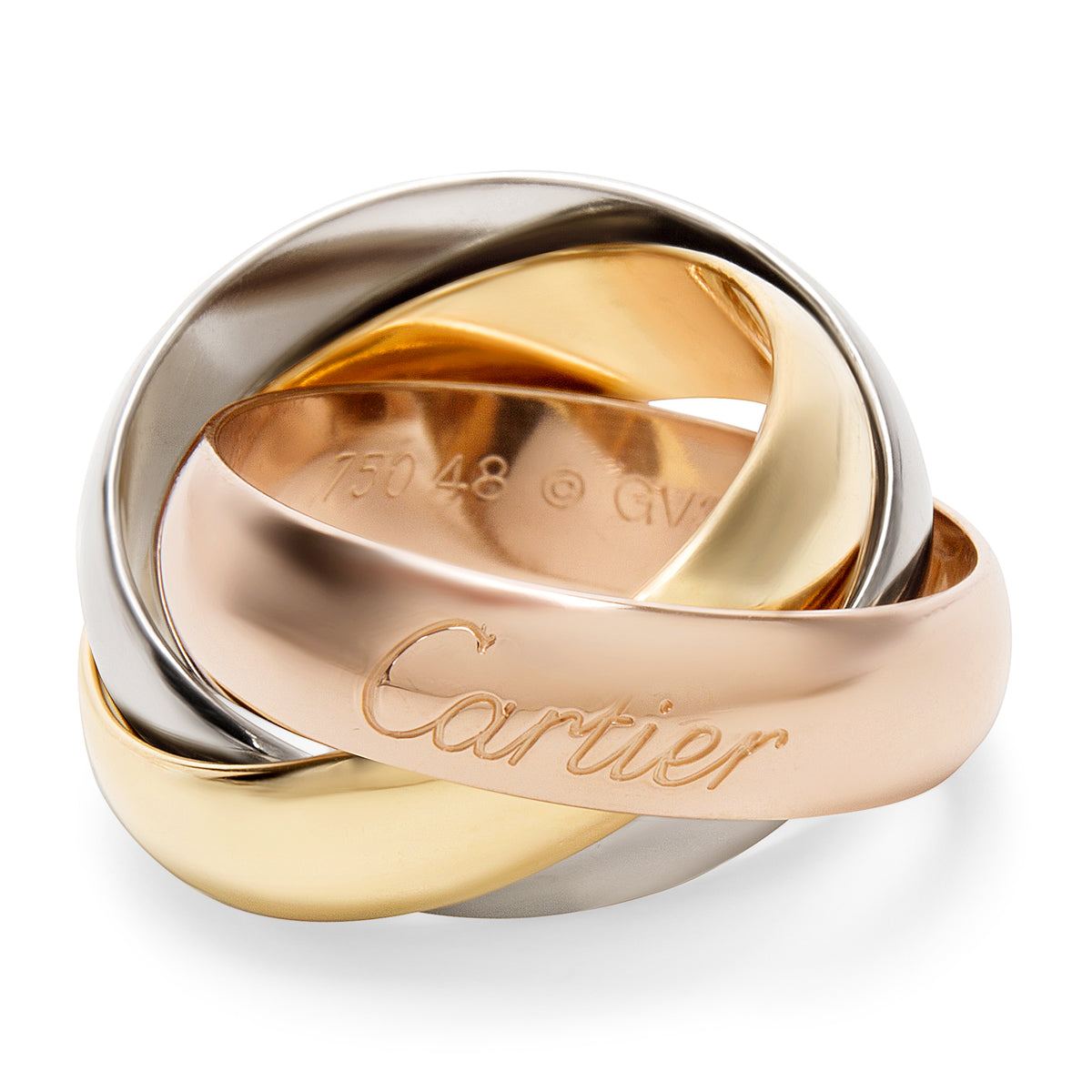 Cartier Trinity Large Model Ring in 18K Yellow, White & Rose Gold (Size 48)