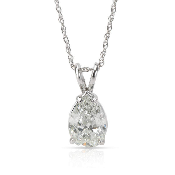 IGI Certified Pear Shape Solitaire Diamond Necklace in 14K White Gold 3 CTW
