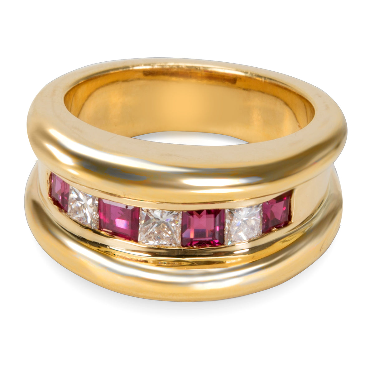 Channel Set Diamond & Ruby Band in 18KT Yellow Gold 1.27 ctw