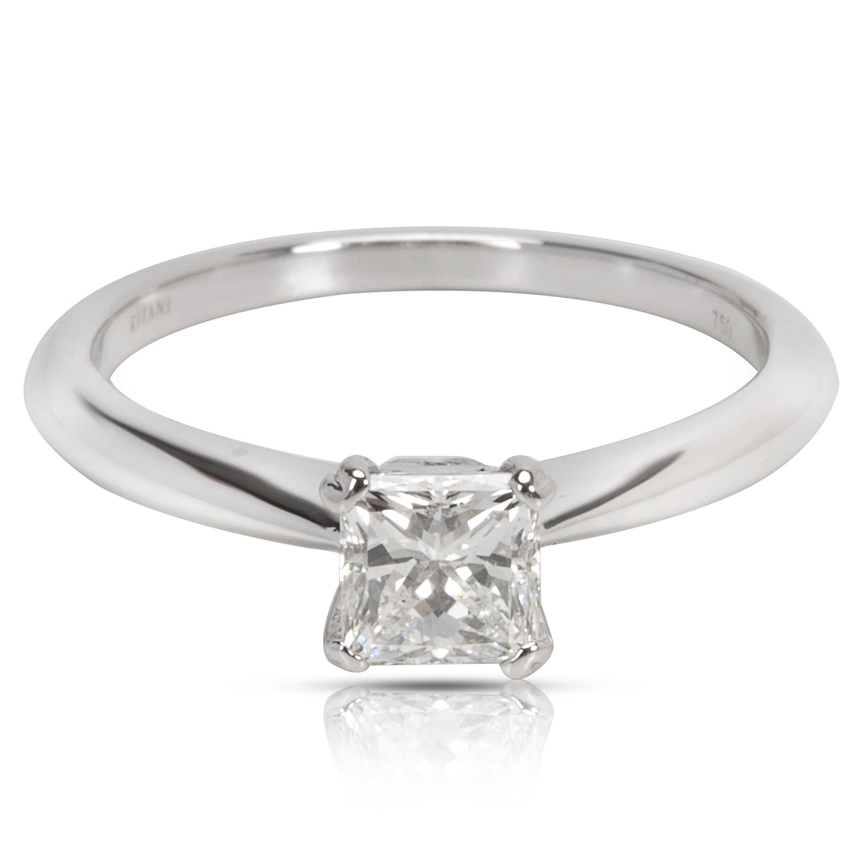 AGS Certified Ritani Engagement Ring in 18K White Gold (0.57 CTW)
