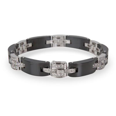 Cartier Maillon Panthere Diamond & Ceramic Bracelet in 18K White Gold (1.68 CTW)