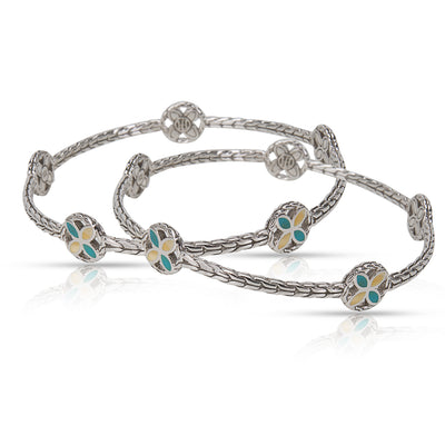 John Hardy Pair of Bangles 5 Flower Stations with Turquoise & Ivory in Sterling