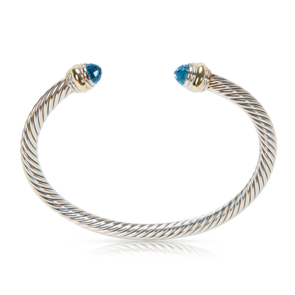 David Yurman Cable Blue Topaz Bracelet in Sterling Silver & 14K Yellow Gold