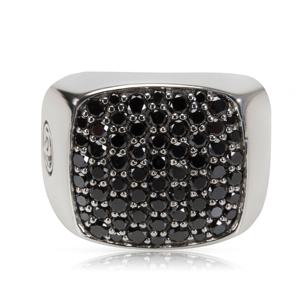 David Yurman Black Diamond Signet Ring in Sterling Silver