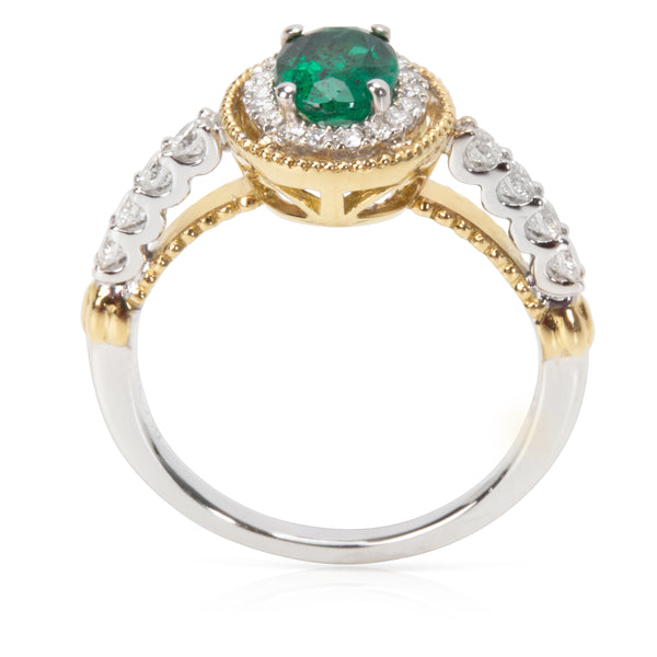 Diamond & Emerald Halo Gemstone Ring in 18KT White Gold 1.26 ctw