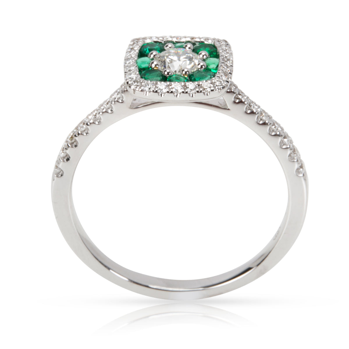 Diamond & Emerald Ring in 18KT White Gold 0.67ctw