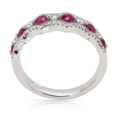 Diamond & Ruby Band/Ring in 18KT White Gold 0.71 ctw
