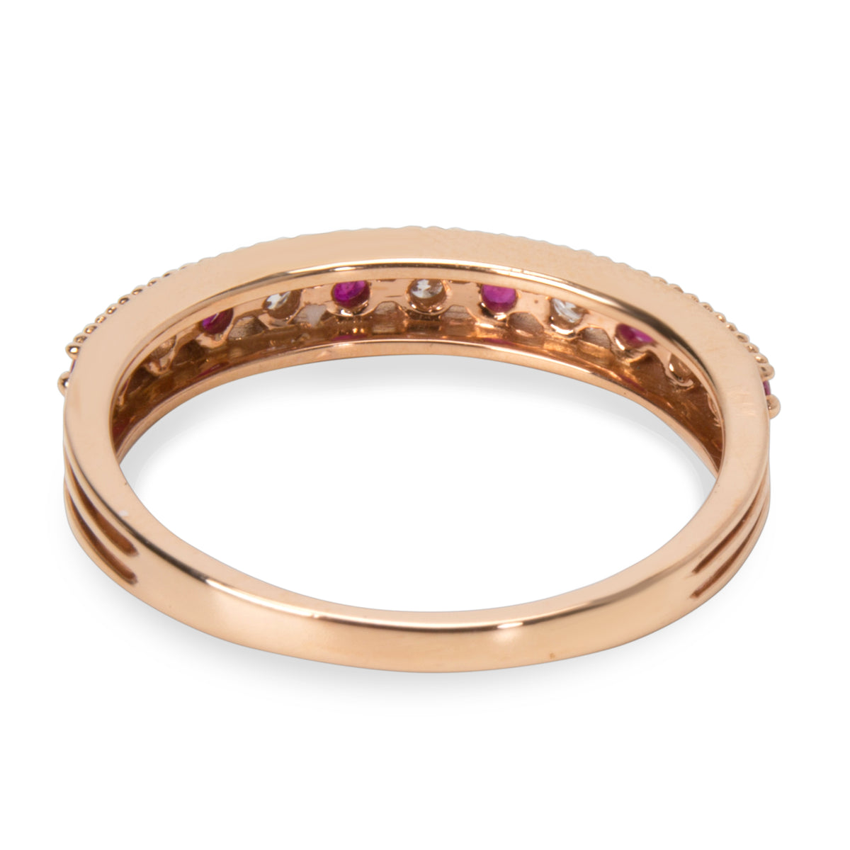 Stackable Diamond & Ruby Ring in 18KT Pink Gold 0.30 ctw