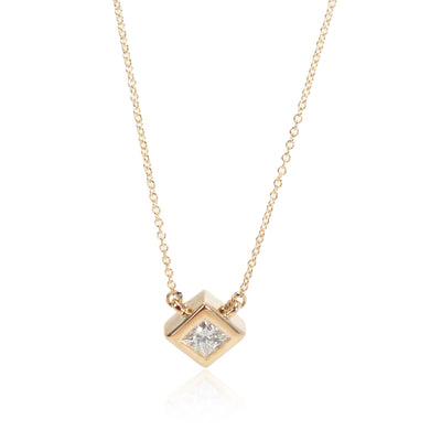 GIA Certified Princess Cut Solitaire Necklace in 14K Yellow Gold (0.47 ct)