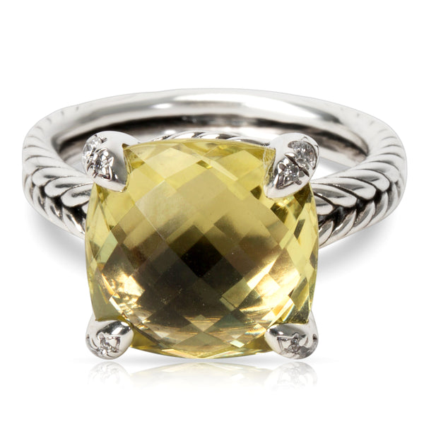 David Yurman Chatelaine Lemon Citrine Ring in Sterling Silver (11 mm)