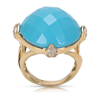 Faceted Turquoise Fashion Ring in 18KT Yellow Gold  0.65CTW