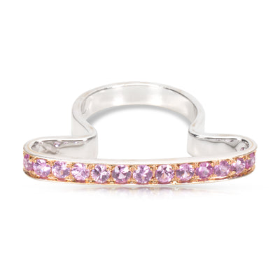 Pink Sapphire Fashion Ring in 18K White Gold