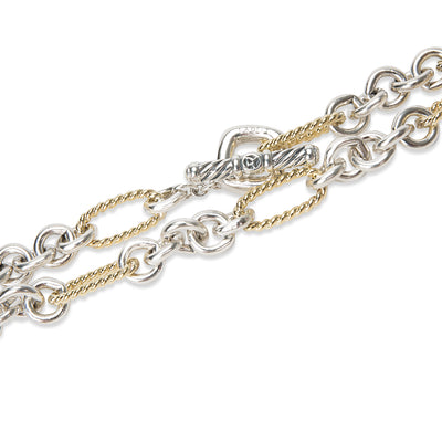 David Yurman Figaro Necklace in Sterling Silver & 18K Yellow Gold