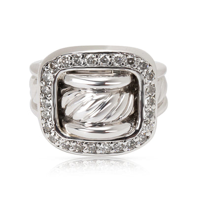David Yurman Cable Square Buckle Diamond Ring in Sterling Silver 0.52 ctw