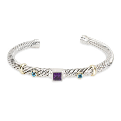 David Cable Bangle with Yurman Amethyst & Blue Topaz in Sterling Silver & Gold
