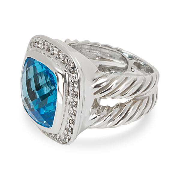 David Yurman Blue Topaz Albion Ring in Sterling Silver