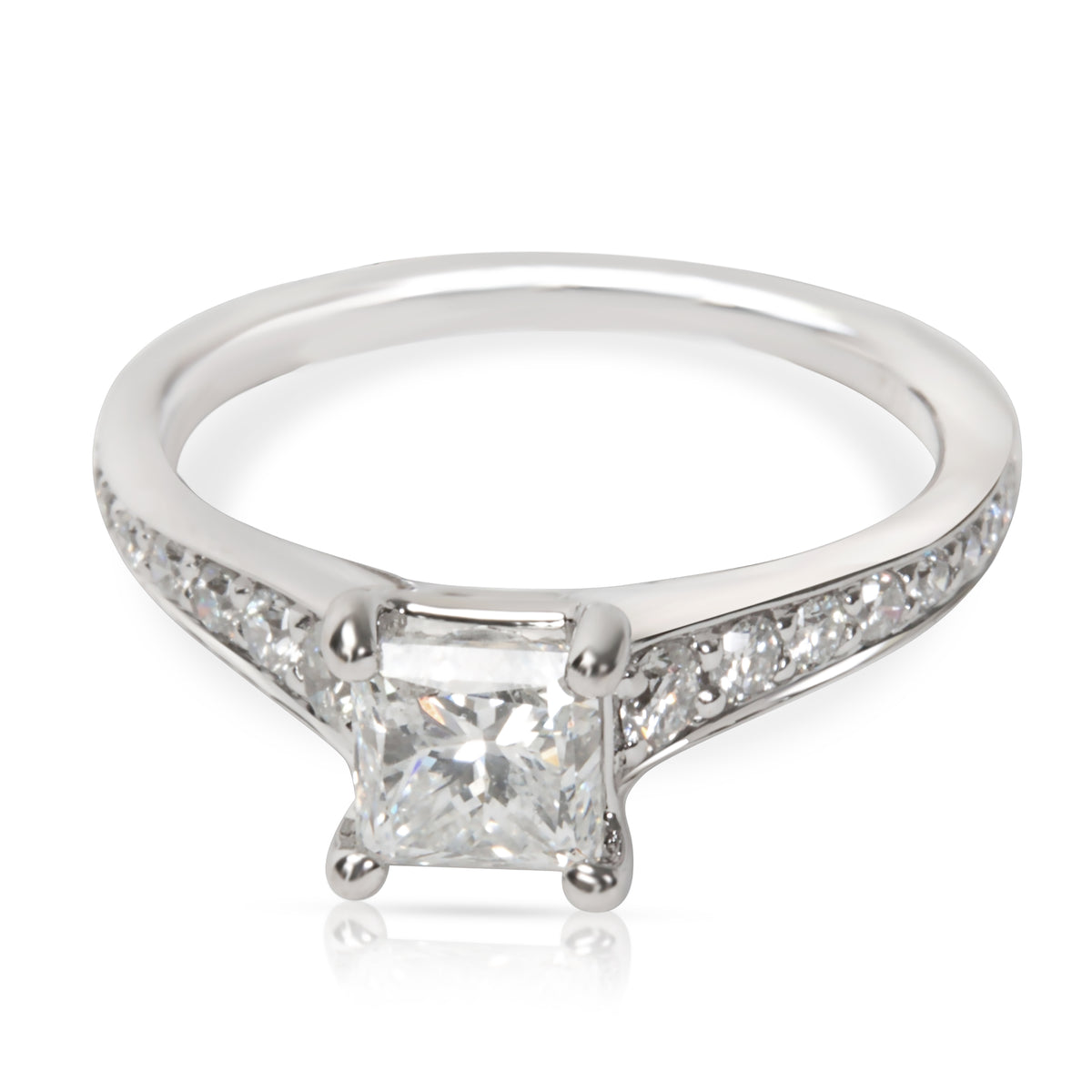 Princess Cut Diamond Engagement Ring in 18K White Gold  1.30CTW