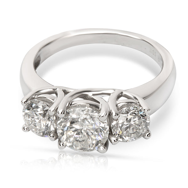 Three Stone Diamond Engagement Ring in 14K White Gold  2.50 CTW