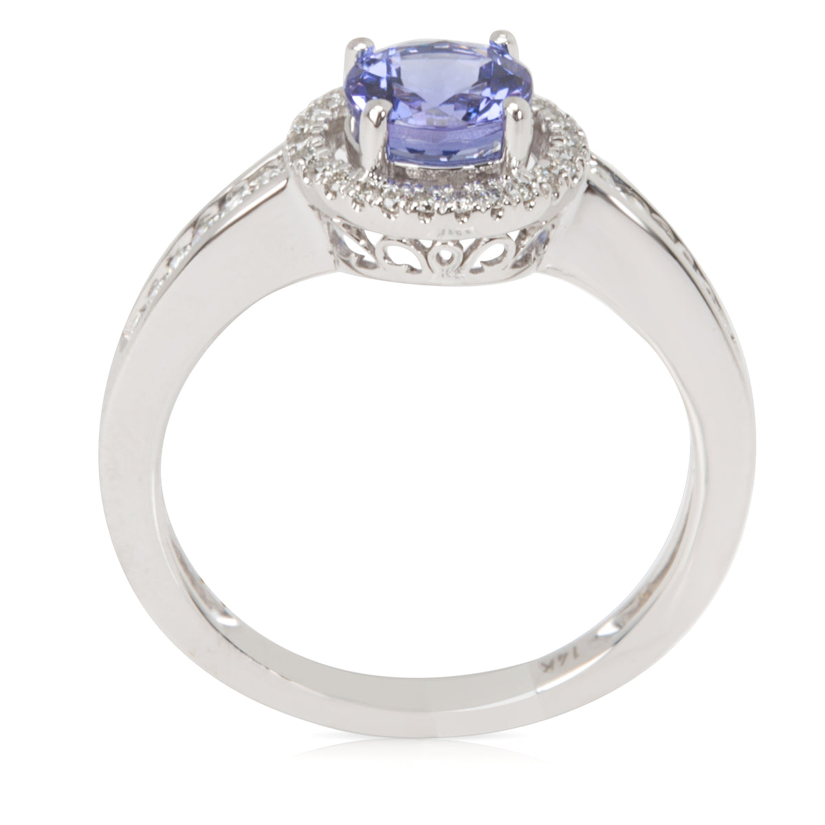 Halo Tanzanite & Diamond Ring in 14K White Gold  0.20CTW