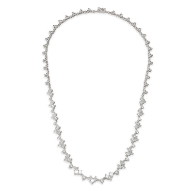 Round & Princess Cut Riviera Diamond Necklace in 18K White Gold (4.84 CTW)