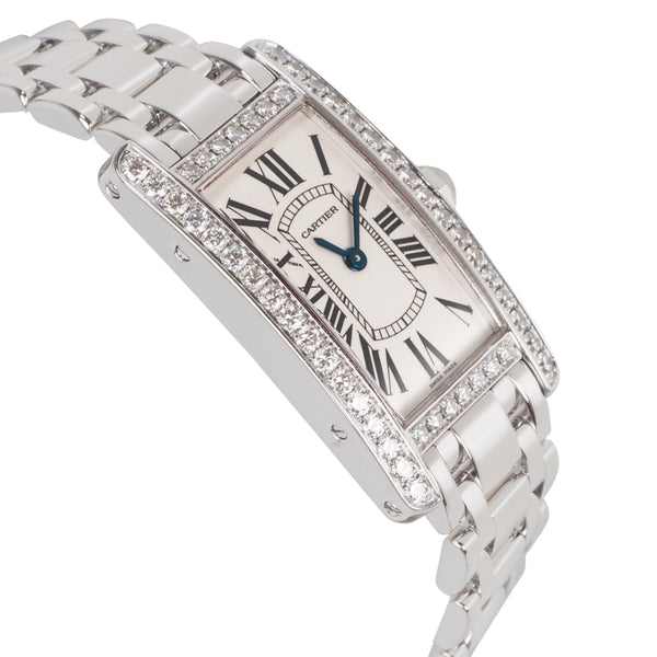 Cartier Tank Americaine WB7073L1 Women's Watch in  18K White Gold
