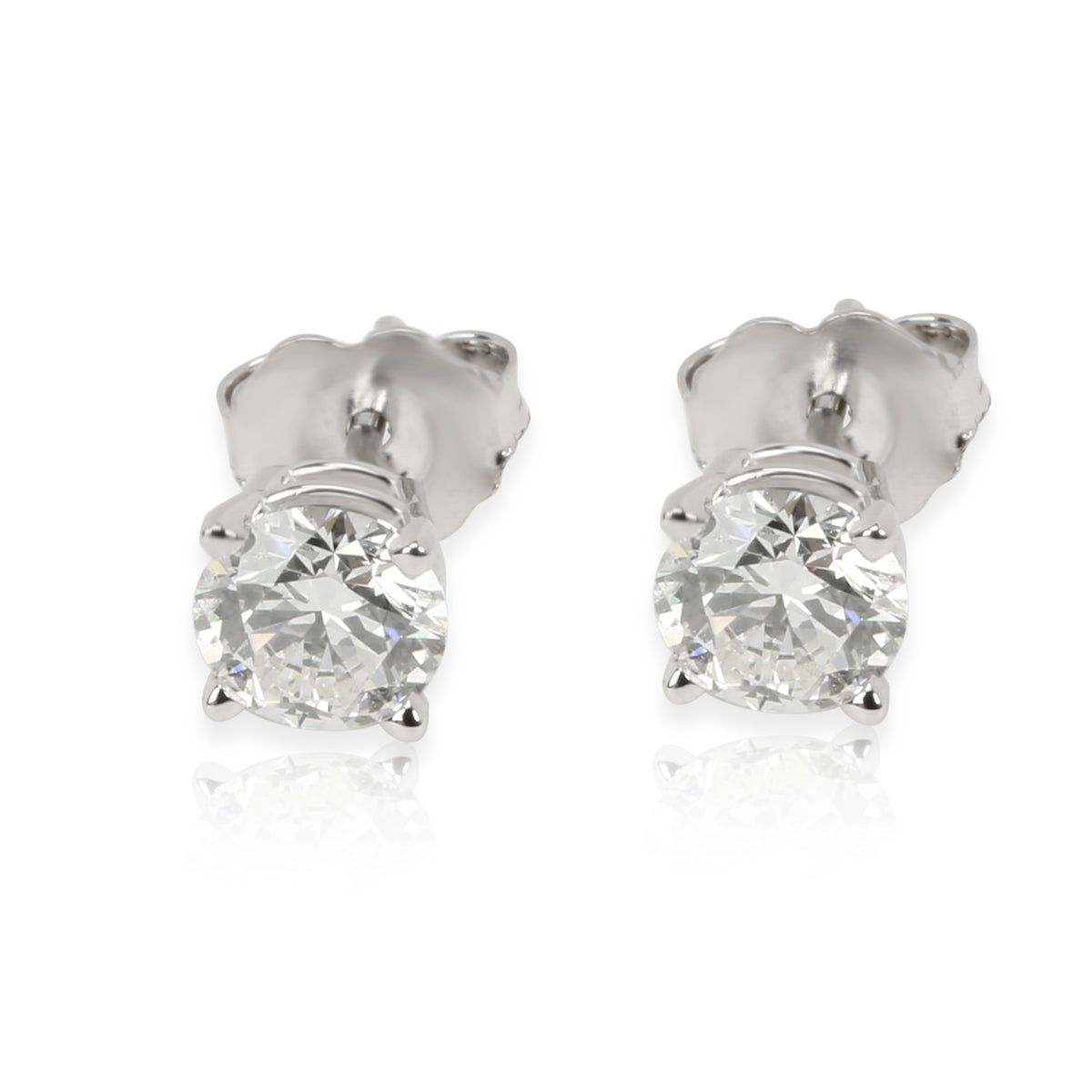 GIA Certified Diamond Stud Earrings in 14K White Gold (1.02 ctw H/VS1)